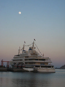 The 'Al Said', Sultan Qaboos' private yacht, moored in Muscat Harbour. Its more than 55 feet wide and maintained by a crew of 156.