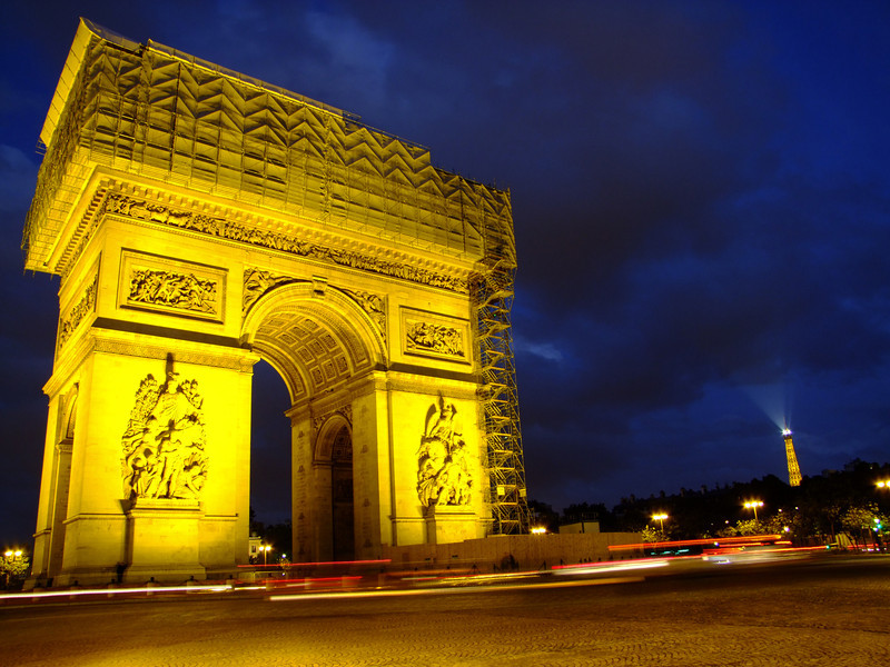 Arc De Triomphe and Eiffel in background