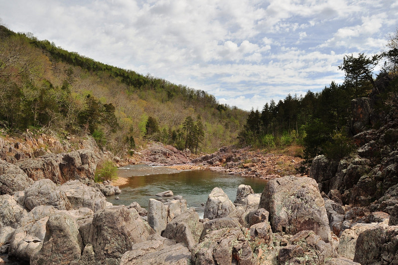 Johnson's Shut-ins.  A shut in is a narrow portion of a river.  The rocks are Ryholite and have been aged at over 1.5 billion years old, making them some of the oldest on earth.  The river winds it's way through the shut-ins making many narrow passages