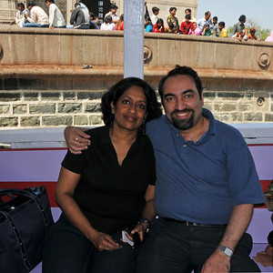 Anu (Arundhathi) & Suchit just after getting onto the Ferry to Elephanta Islands. The Elephanta Caves are located just off Mumbai harbour in the Gharapuri Island also called Elephanta Island - a name given by the Portuguese when they ruled over this area. In 1987, the caves were designated a UNESCO World Heritage Site. Hewn out of solid rock, the Elephanta Caves date back to 600 AD. The caves attract many visitors who take an hour long ferry boat ride to reach from Gateway of India. The cave complex is a collection of rock-cut architecture with stone sculptures of Hindu Gods and Goddesses.