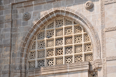 The architecture of Gateway of India as seen when taking the ferry to The Elephanta Caves.