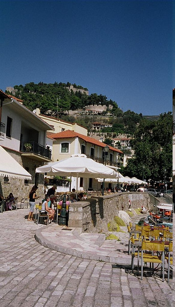 Nafpaktos.  Some Italian shops and signs, due to closeness to Patra, terminus for several of the ferries from Italy.