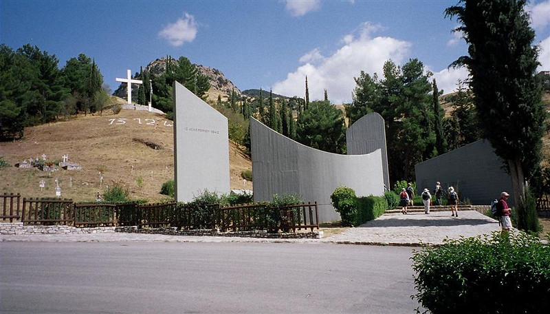 Kalavrita - memorial to 13/12/43 slaughter of patriot men and boys by Germans.  Chapel built into hillside contains silver effigy figures for each of the 1,436 men and boys massacred for being local patriots
