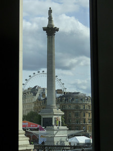 Nelson's Column amidst Diwali Festival from window in Sainsbury Wing of Gallery