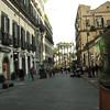 Street scene in Naples near the waterfront.
