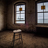 Stool is perfectly placed for views of the New York Harbor and Lady Liberty.