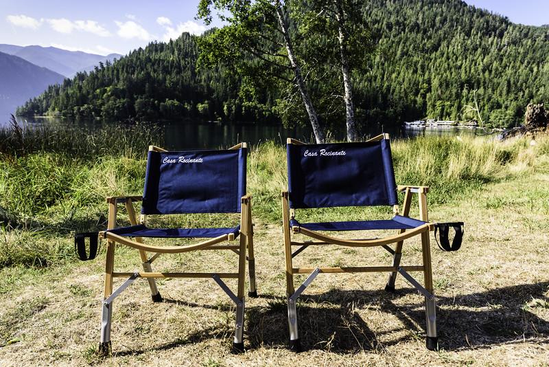 Kermit chairs on Crescent Lake at Log Cabin Resort, WA
