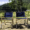 Kermit chairs on Crescent Lake at Log Cabin Resort, WA