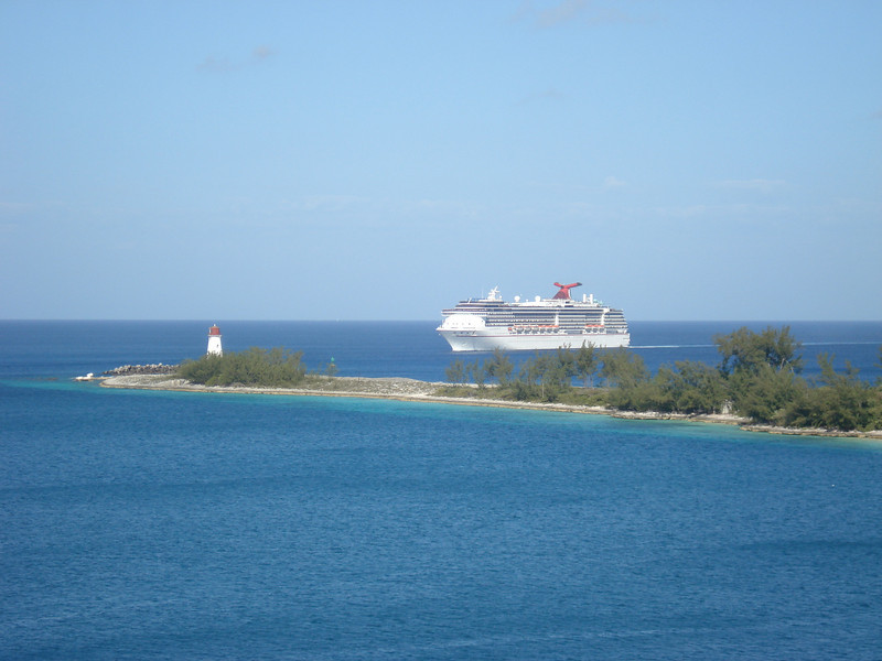 Carnival Cruise Lines' Pride approaches Nassau harbor entrance.