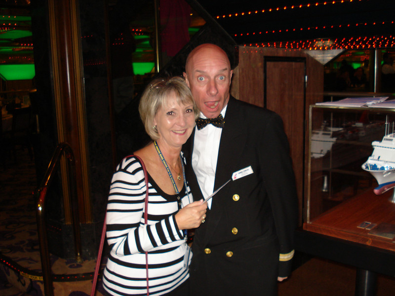 Raye with our dining room Maitre D' Gabriel.