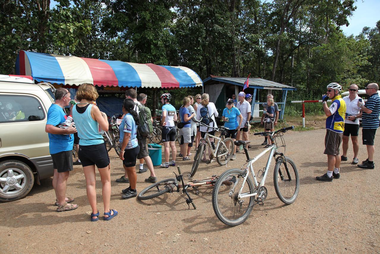 Temperature check tent Cambodian border