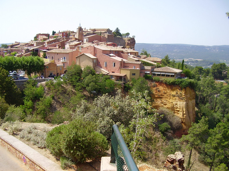 As shown in this photo, Roussillon is built on the ochre cliffs.