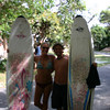 I know it is blurred but it is the only one of us together with our surf boards!