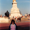April 1, 1990<br /> London, England<br /> Vickie in front of statue or monument across the street from Buckingham Palace.