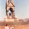 April 1, 1990<br /> London, England<br /> Statue in Hyde Park--Vickie with very tired feet (we thought we would walk to church but we could not find it).