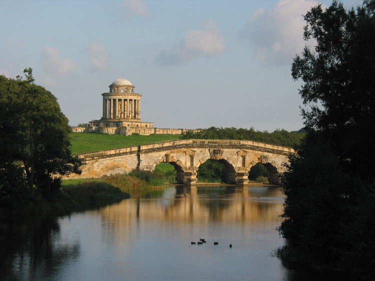 Mausoleum, bridge and lake (with well-places ducks!), Castle Howard.