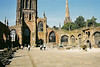 Inside the burned out ruin of old Coventry Cathedral.