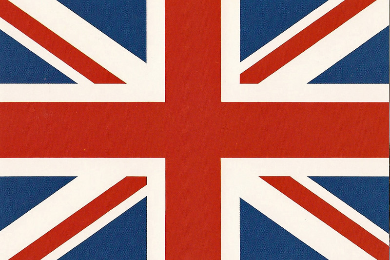 The Union Jack.  It is actually a composite of the flag of Scotland (St Andrew's white cross on a blue standard) and the flag of England (St George's red cross on a white standard).