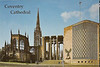 A postcard of Coventry Cathedral showing the old, bombed and burned portion on the left and opposite the breezeway, the new cathedral.