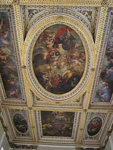 The ceiling of the Banqueting House, painted by Rubens in 1634.