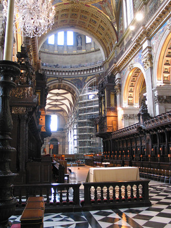 Inside St Pauls Cathedral, London. Note the people standing on the balcony of the Whispering Gallery inside the main dome.