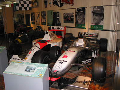 McLaren and Cooper F1 race cars, Brooklands Museum.