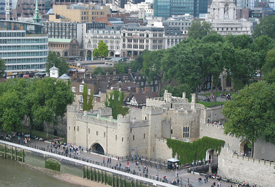 View of the Tower of London from the top of Tower Bridge.