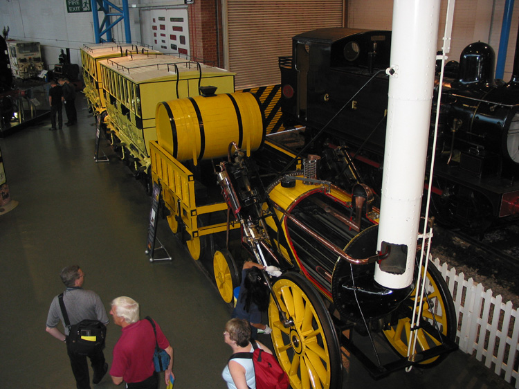 A replica of Stevensons Rocket, National Railway Museum, York.