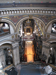 Looking from the Whispering Gallery in the main dome of St Pauls into the cathedral.  Not the size of the two people opposite.