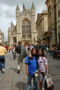 Breana and Marisa outside the Baths and the Bath Abbey.