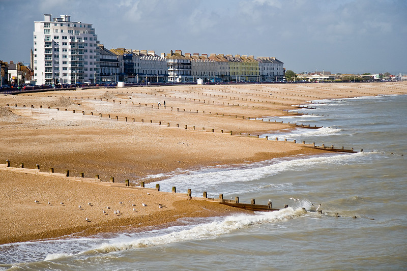 The beaches at Eastbourne; with the chill and the wind the birds greatly outnumbered the people.