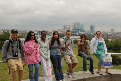 Atop the hill overlooking Greenwich Park, the river Thames, and London beyond.