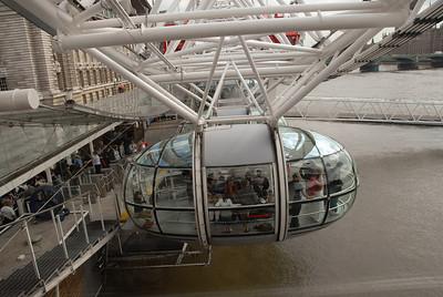 Inside the London Eye capsule.