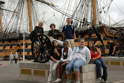 Our group in front of the HMS Victory.