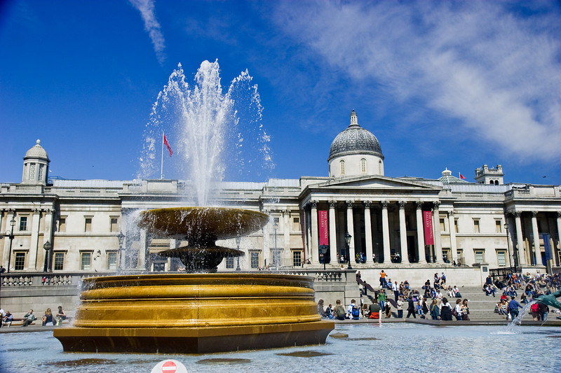 Trafalgar Square and the National Gallery.