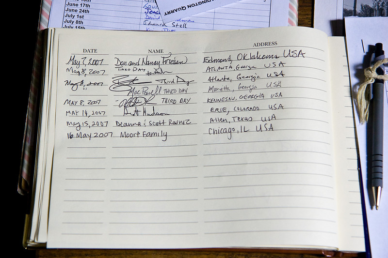 The guest book at Holy Trinity Church. Look above our names for the guys from Third Day, who took the tour a couple weeks earlier.
