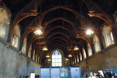 Inside Westminster Hall, the only space remaining from the original Parliament building destroyed by fire.