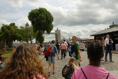 Walking towards the entrance of the Tower of London.