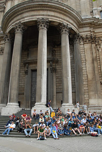 Our whole group sitting on the steps outside St. Paul's Cathedral.
