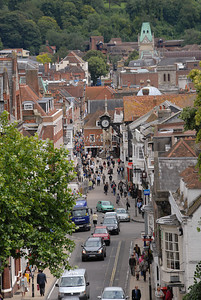 Looking down High Street from the top of the Westgate of the old castle.