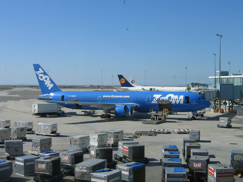 Vancouver Airport - my Zoom Airlines 757 being loaded