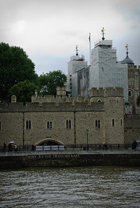Tower of London, under restoration, and the Traitor's Gate.