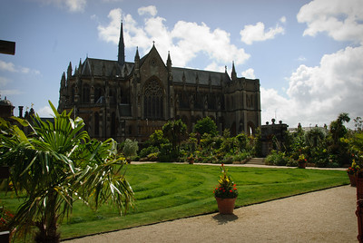 The Collector Earl's Garden at Arundel Castle, with Arundel Cathedral in the background