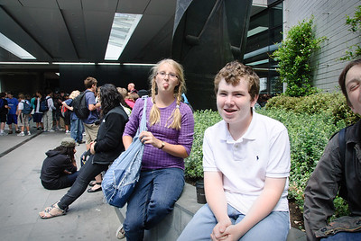 Waiting outside the Museum of London