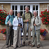 """Intrepid hikers ready to set out on the morning of 22 July, 2010. We have six days walking ahead of us.<br /> <br /> Posed before our B&B in Chipping Campden, """"Cornerways""""."""