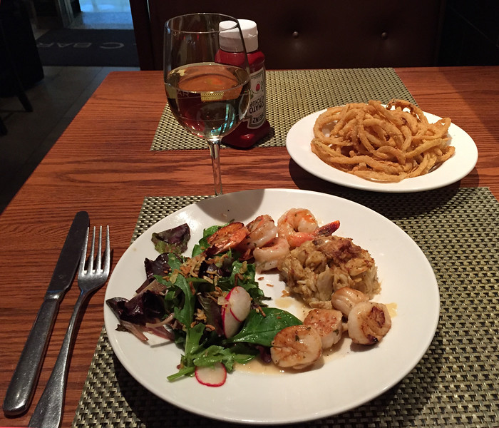 My dinner at Legal Seafoods at Logan Airport before flight, 11 May 2016. Same choice every time—I'm in a rut.
