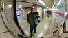 England, Cornwall, Poldark/Doc Martin solo tour, May 2016.  Cellphone picture.  <br /> Fun with mirrors in a Tube (Underground) station.