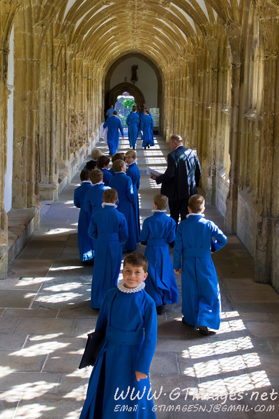 Choir boys leaving via the Cloisters after rehearsal....