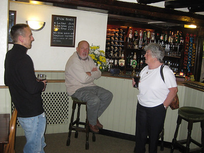 Steve, Malcolm, and Rosemary in The Swan, Bures, Suffolk.