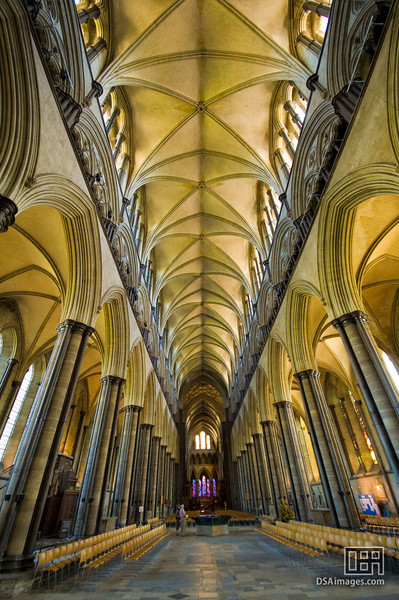 Nave inside Salisbury Cathedral